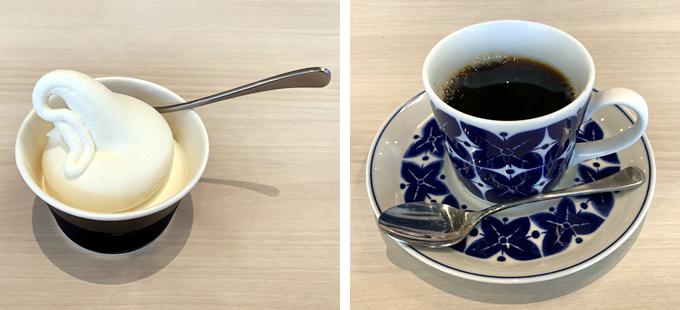 オールカフェ×タニタカフェ(呉市中通)タニタコーヒーと豆乳ソフトクリーム